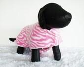Fleece Dog Jacket, Pink Zebra Dog Coat, Large Dog winter coat, Pink and white zebra stripe fleece pet coat, Shih Tzu warm jacket