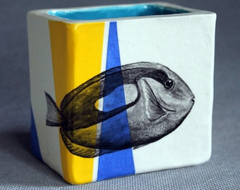 Hand Painted Blue Tang Portait Pencil Box