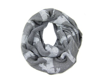 Birch Stripe Infinity Scarf - Hand Printed Sweatshirt Fleece Circle Scarf in Heather Grey and White