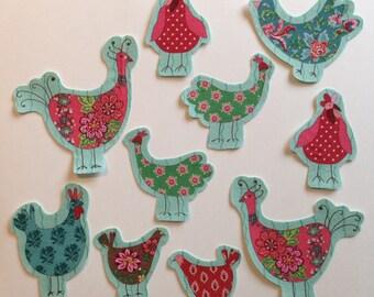 5 Piece Fabric Iron On Applique Bird Set