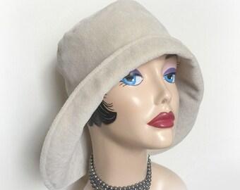 Women's Shower Proof Cloche, Warm Spring Hat,  Rainy Days Cloche, Cream Velour Hat, Wide Rear Brim, Spring Showers, Handmade in the USA
