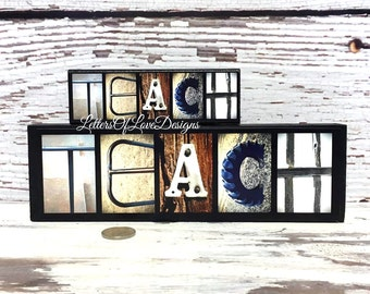 TEACH Wood Sign Teacher Gift Picture Teacher Appreciation Present School Classroom Decor Photo Letters Alphabet Photography Letters of Love