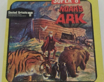 "Vintage Super 8 Movie Box ""Noah's Ark"" UA Films #5519 Classic Biblical Animal Kids Retro Litho Graphics Wall Decor Display Collectible empty"