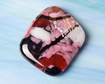 Handmade Dichroic Fused Glass Focal Cab Bead Pendant Necklace ...jumbo...