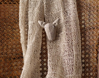 SALE. Pig pin +  Hand knitted scarf from natural linen.