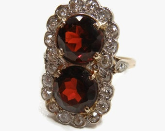 Vintage Garnet and Diamond Ring / Valentine / Engagement ring / unique / Art Deco / big garnets / Garnet ring / January
