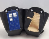 Leather Toe Guards with TARDIS and Dalek