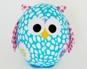 Aqua MEDIUM Ornamental Fabric Owl