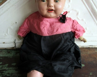 """Antique Large Composition Baby Soft Body tin Eyes and Teeth Old silk dress 20"""""""