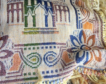 Antique Tapestry Tablecloth silky Thread Fringe Arab Mosque Horse Middle Eastern