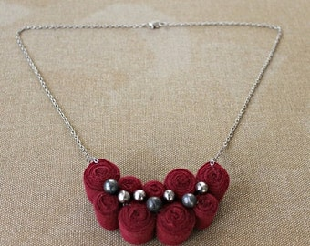 CLEARENCE SALE Fibre Art Necklace One of a Kind Burgundy Fabric Necklace Bib Necklace Statement Necklace Modern Jewelry