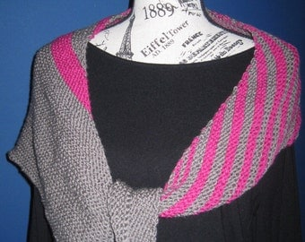 Hand Knit Scarf Taupe and Raspberry Merino Wool Asymetrical Free US Shipping!