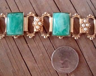 Vintage 1960s Victorian Revival Book Chain Bracelet Faux Malachite & Pearls