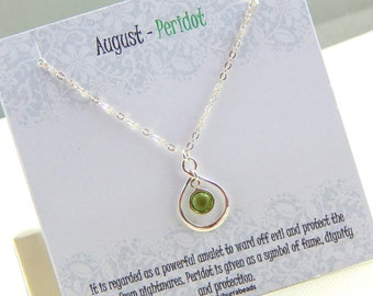 August Birthstone Necklace, Personalized infinity necklace, Peridot, birthstone jewelry, gift boxed necklace