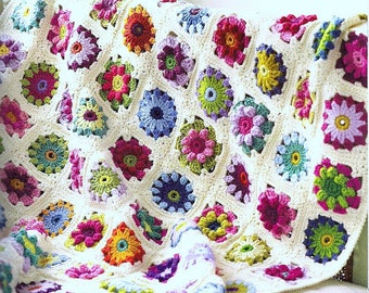 Vintage Crochet Pattern PDF  Roses and Daisies Floral Granny Square Throw  Afghan Blanket Bedspread Cover