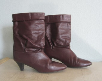 Slouchy Wine Red Leather Fold Over Boots - 80s Cobbies Leather Boots - Vintage 1980s Boots Size 9 N