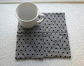 black n white geometric set of mug rugs
