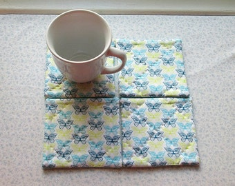 blue yellow green butterflies hand quilted set of mug rugs coasters