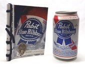 PBR 'Please Drink Responsibly' Recycled Beer Journal, Pabst Blue Ribbon, Americana, Upcycled, Stab Bound, Red, White, T-shirt, Medal