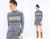 FLASH SALE vintage 70s BOHO space dyed Striped mini dress S
