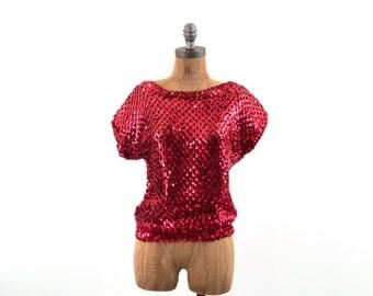 vintage RED sequin open WEAVE elastic TOP S-M