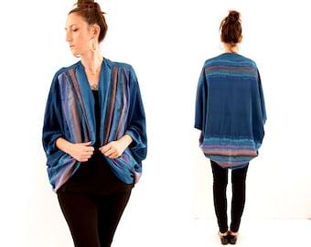 vintage boho HAND PAINTED silk SHRUG blouse // one size