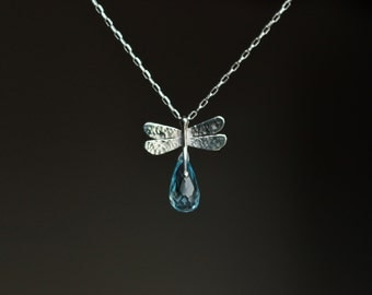 DRAGONFLY - sterling silver necklace with dragonfly and blue topaz