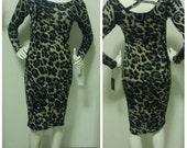 Sample SALE: Cotton Leopard Print Midi Dress (sample size M, 6/8)