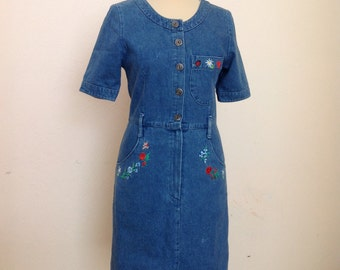 Vintage Denim Dress Embroidery Jean Dress Mini S Small
