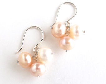 Off White Pink Freshwater Pearl Earrings Sterling Silver. Creamy White, Pink Freshwater Pearl Earrings in Sterling Silver