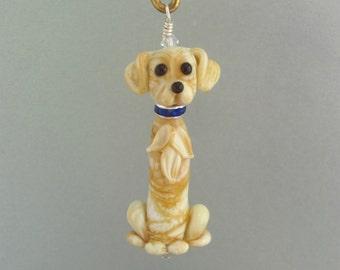 Gracie the Golden Retriever - Handmade Lampwork Glass Bead Art SRA