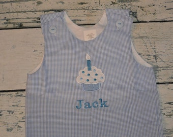 Birthday Cupcake Shortall or Longall JonJon Monogrammed Blue Gingham