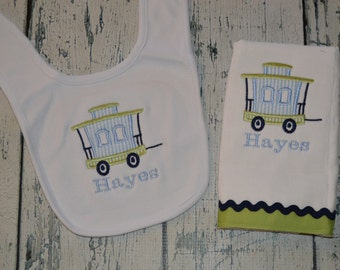 Personalized Train Caboose Bib and Burp cloth Set Monogrammed