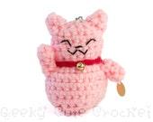 Pink Good Luck Kitty Amigurumi Keychain Maneki Lucky Neko Cat