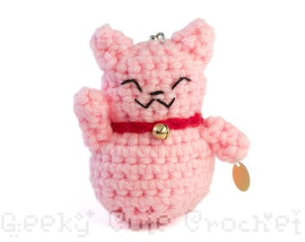 Pink Good Luck Kitty Amigurumi Keychain Maneki Lucky Neko Cat