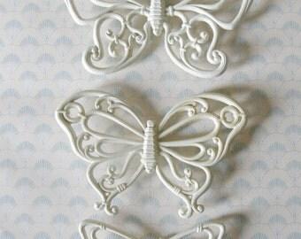 1980s faux wicker butterflies