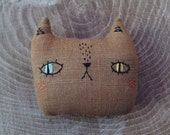 Embroidered mini cat pillow, handmade cat stuffed pillow, cat plushie, cat softie, heriloom cat pillow, gifts for kids, christmas gift