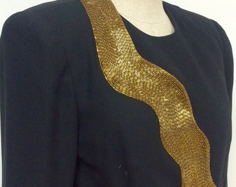 Vintage A.J. Bari Gold Beaded Jacket - Black Short Jacket with Gold Beading - Festive Beaded Jacket - Special Occasion - 34 Bust