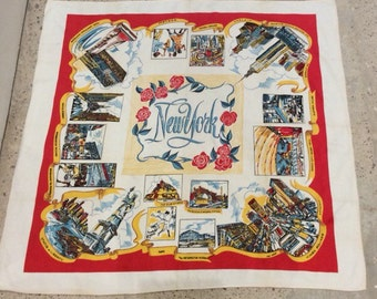 Vintage New York Tablecloth Travel Souvenir - Mid Century Collectible State Cloth - Map Kitchy Decor - Times Square - Statue of Liberty More