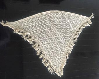 Vintage Crochet Lace Poncho - Morsly Inc. New York - Ivory Poncho - Crochet Poncho - 1960 1970s - Ivory Wrap - Lightweight Poncho Wrap