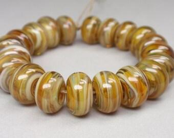 Champagne Rain Swirls  - 20 Handmade Lampwork Beads SW 215