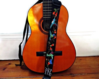 Custom Gibson Hummingbird Guitar Strap/ Hand Embroidered Hummingbirds/ Butterfly/ Personalized Black Adjustable Guitar Strap