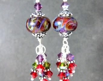 Colorful Glass & Crystal Dangle Earrings, Red Purple Green Boro Lampwork Earrings, Boho Chic Earrings, Sterling Silver Earrings Boho Jewelry