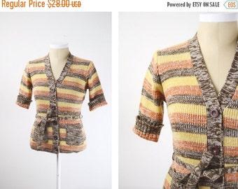 Short Sleeve 1970s Yellow Striped Cardigan - XS/S
