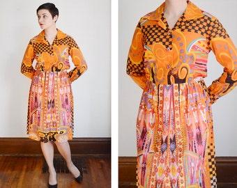 1960s Abstract Art Orange Shirt Dress - M/L