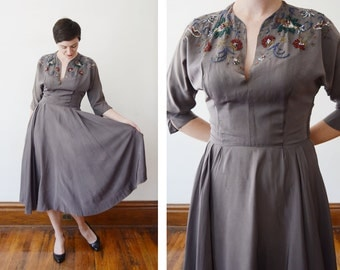 AS IS 1940s Grey Beaded Cocktail Dress - S/M