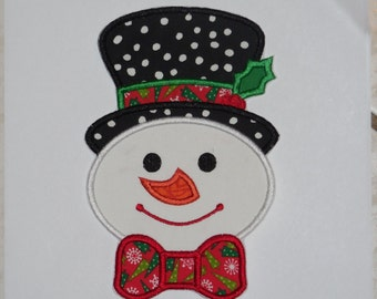 "Embroidered Iron On Applique  ""Snowman Bowtie"""