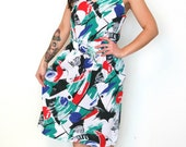 French vintage 1980s graphic graffiti white red green and blue dress - large L
