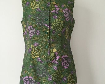 French vintage 1960s green and pink floral tunic with mandarin collar - medium large M L
