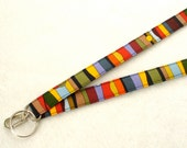 Mens Fabric Lanyard ID Badge Holder Unisex Breakaway Lanyard Designer Fabric Luella Doss Colorful Stripe Bubbles ID Clip Key Ring Fob MTO